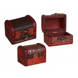 Ensemble de 5 boîtes en bois vintage (coffres)