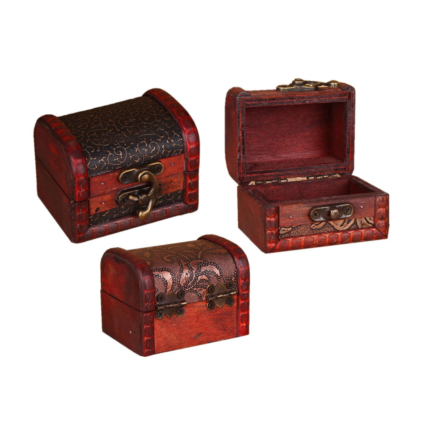 Set of 5 vintage wooden boxes (chests)  - 1