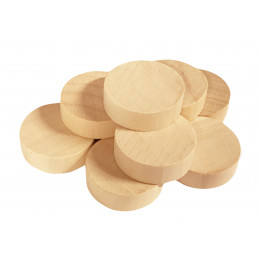 Set of 100 wooden discs (dia: 2.5 cm, thickness: 8 mm, schima)
