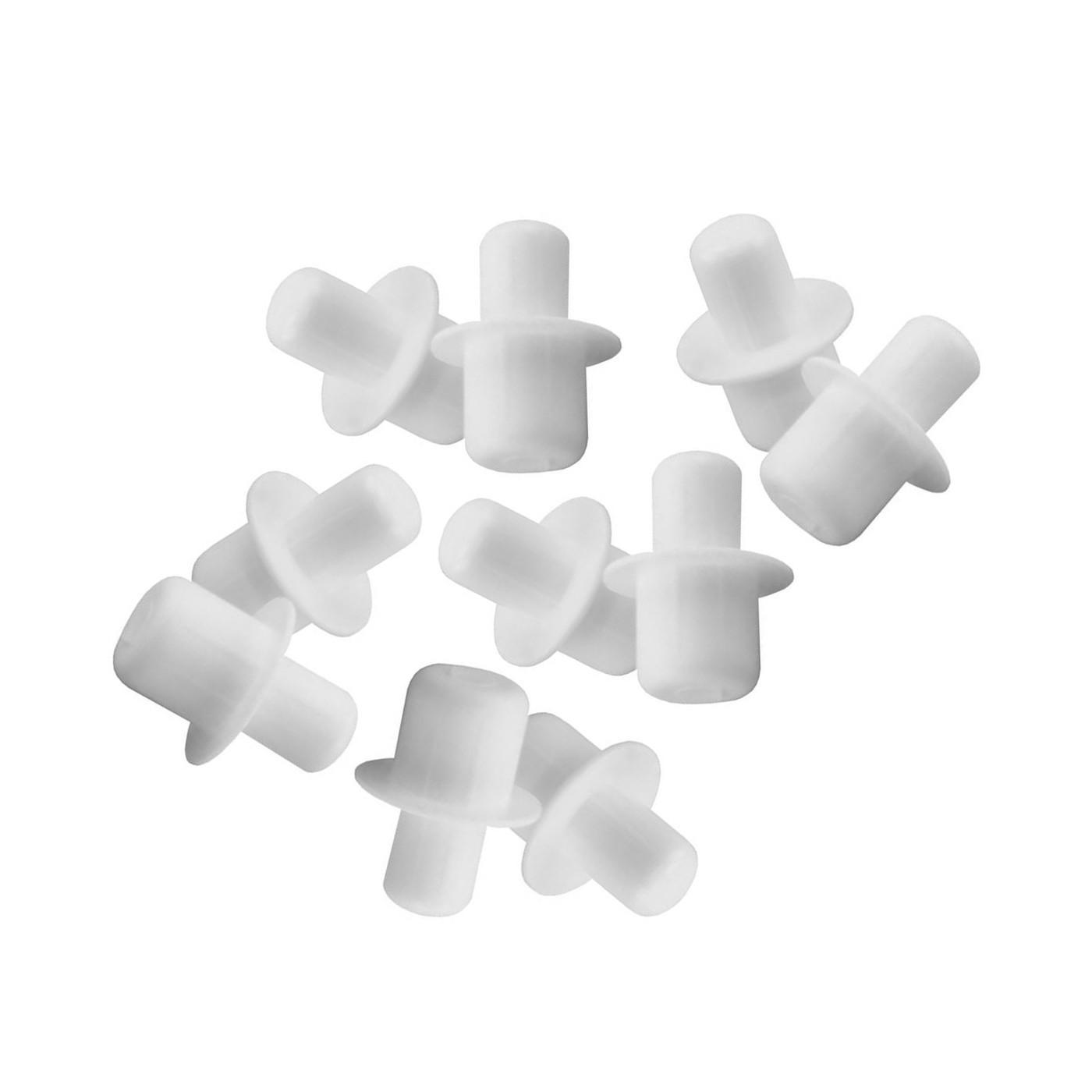 Set of 120 plastic shelf supports (white, 5&6 mm, 15 mm length)