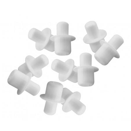 Set van 120 kunststof plankdragers (wit, 5&6 mm, 15 mm lengte)