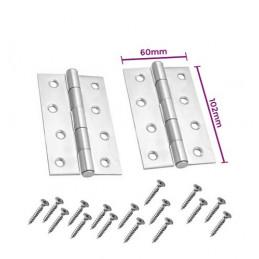 Set of 8 metal hinges, silver color (102x60 mm)