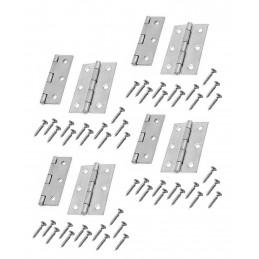 Conjunto de 8 dobradiças de metal, cor prata (64x35 mm)  - 1