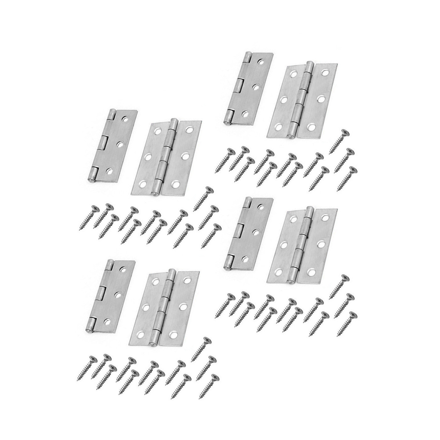Set of 8 metal hinges, silver color (64x35 mm)