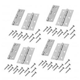 Conjunto de 8 dobradiças de metal, cor prata (76x45 mm)  - 1