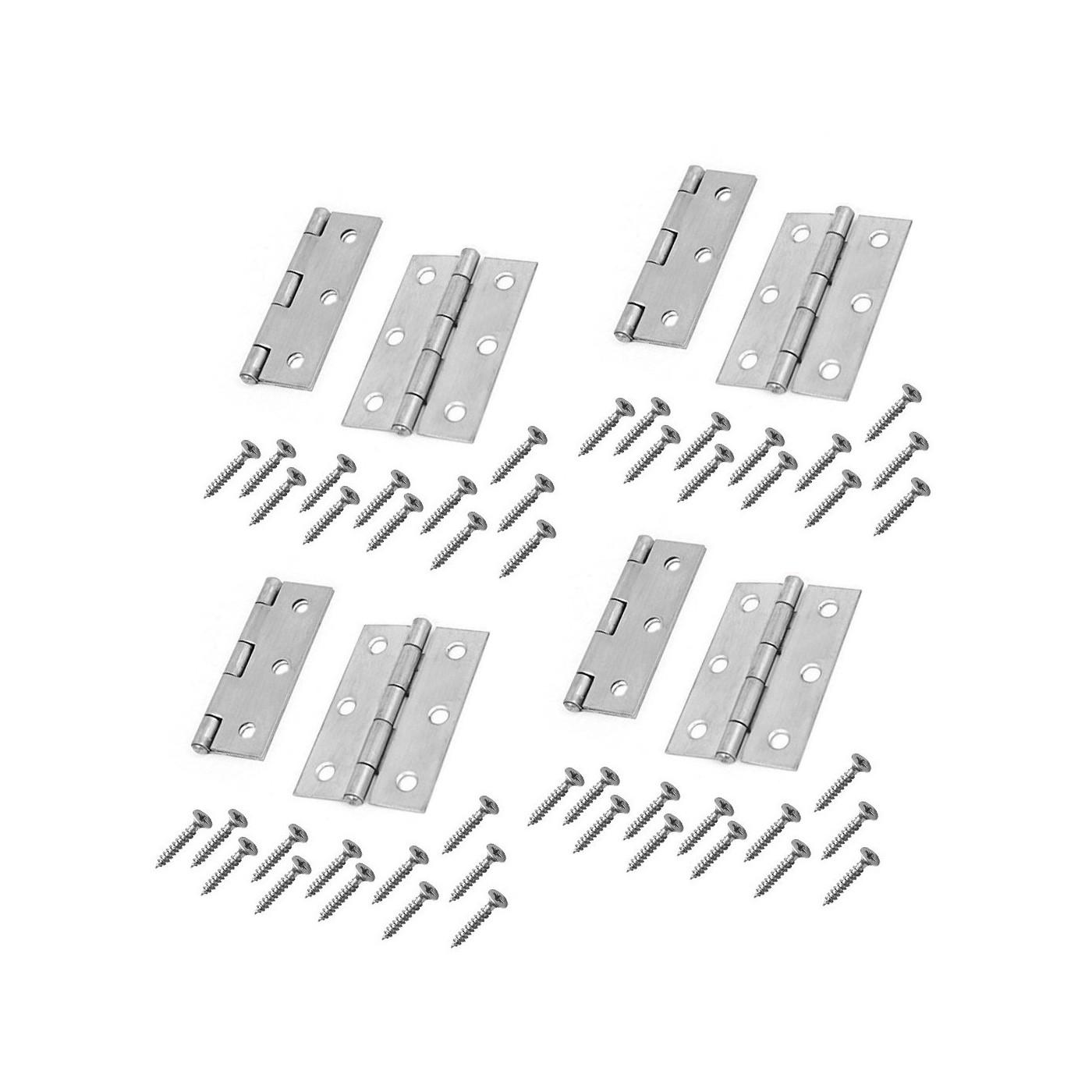 Set of 8 metal hinges, silver color (76x45 mm)