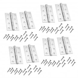 Set of 8 metal hinges, silver color (102x60 mm)