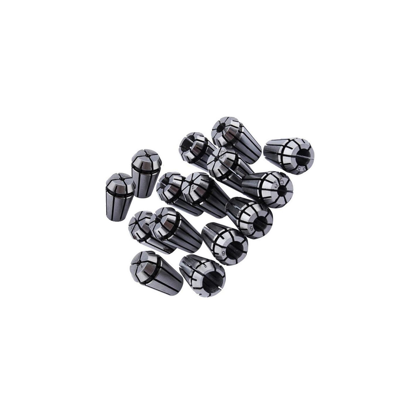 Set mandrins à pinces ER11 (15 pièces, 1-7 mm, y compris 1/8