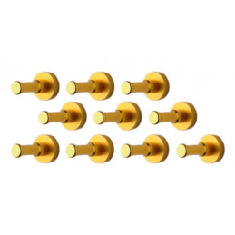 Set of 10 metal clothes hooks, wall brackets, gold