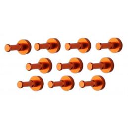 Ensemble de 10 patères métalliques, supports muraux, orange