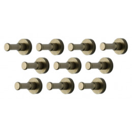 Ensemble de 10 patères métalliques, supports muraux, bronze
