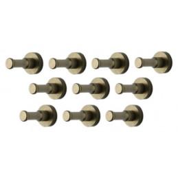 Set van 10 metalen kledinghaken, kapstok, brons  - 1
