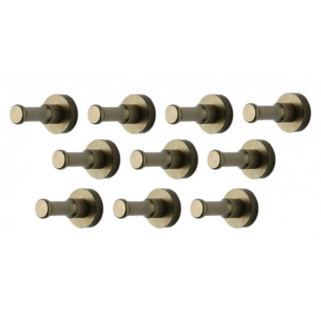 Set van 10 metalen kledinghaken, kapstok, brons