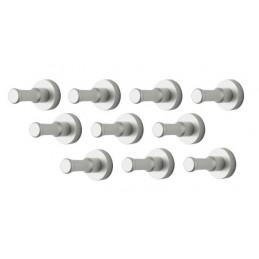 Ensemble de 10 patères métalliques, supports muraux, argent