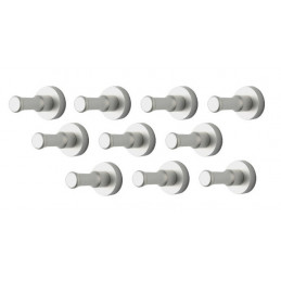 Set of 10 metal clothes hooks, wall brackets, silver