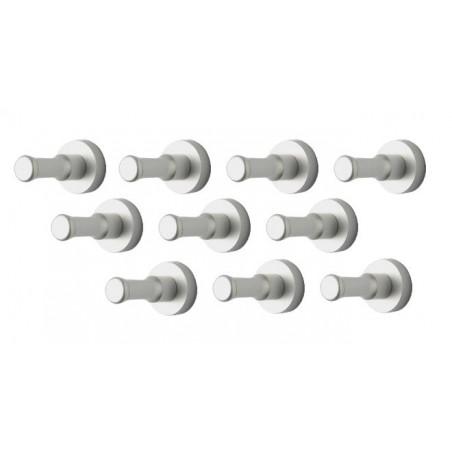 Zestaw 10 metalowych wieszaków na ubrania, uchwytów ściennych, srebrny  - 1