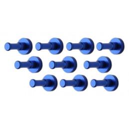 Ensemble de 10 patères métalliques, supports muraux, bleu foncé