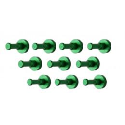 Ensemble de 10 patères métalliques, supports muraux, vert  - 1