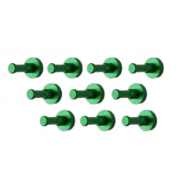 Set of 10 metal clothes hooks, wall brackets, green