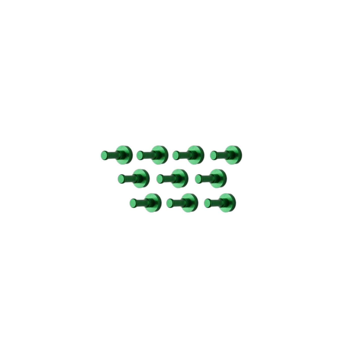 Set di 10 ganci appendiabiti in metallo, staffe da parete, verde