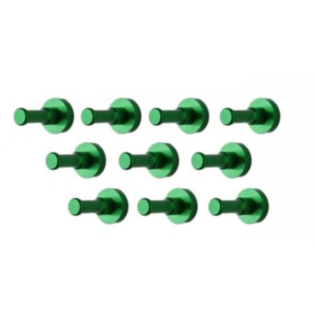 Ensemble de 10 patères métalliques, supports muraux, vert