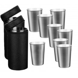 Set of 8 stainless steel cups (170 ml) with 2 leather bags  - 1