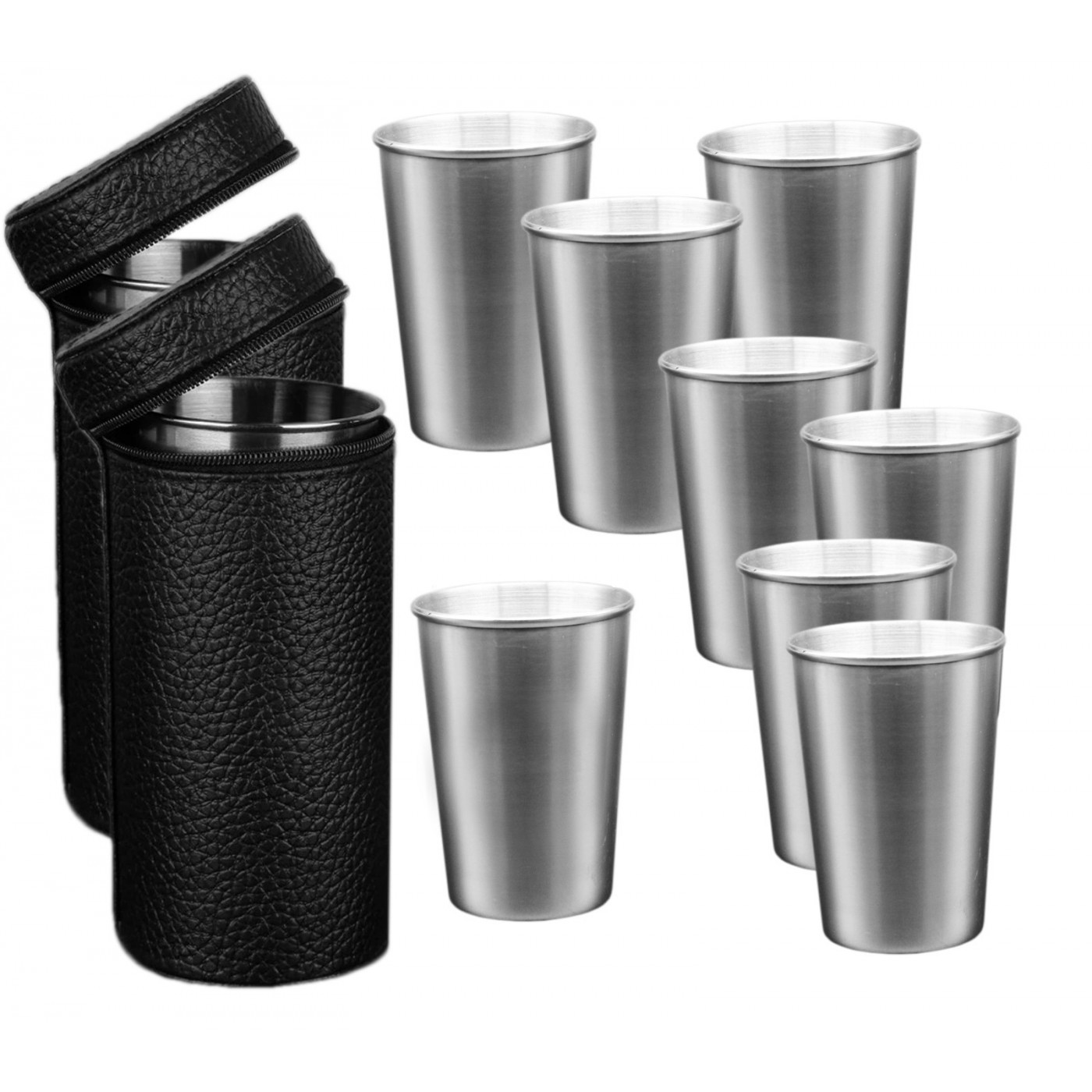 Set of 8 stainless steel cups (170 ml) with 2 leather bags