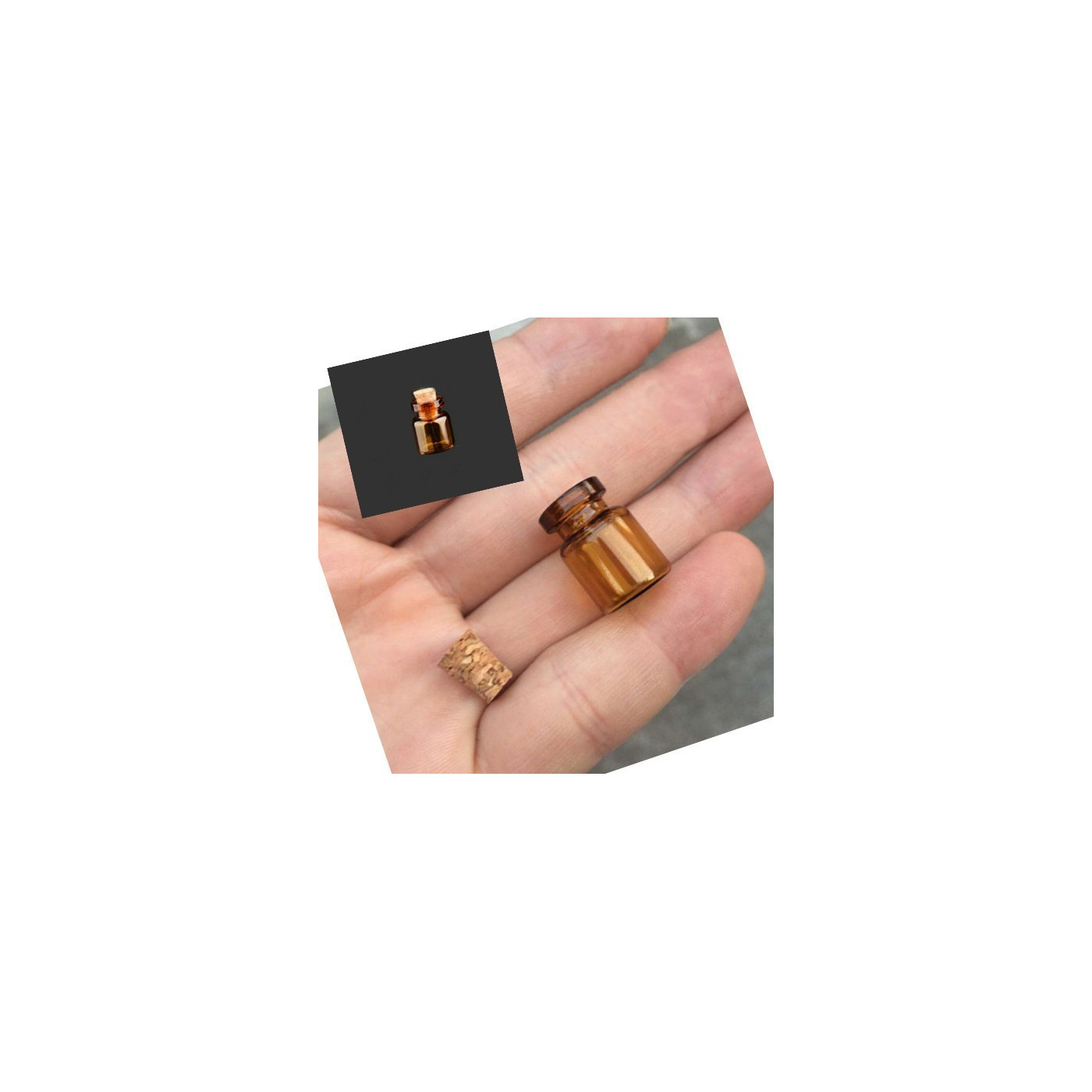 Conjunto de mini frascos de vidro, 13x18x6 mm (50 unid.)  - 1