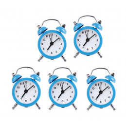 Set of 5 funny little alarm clocks (baby blue, battery)