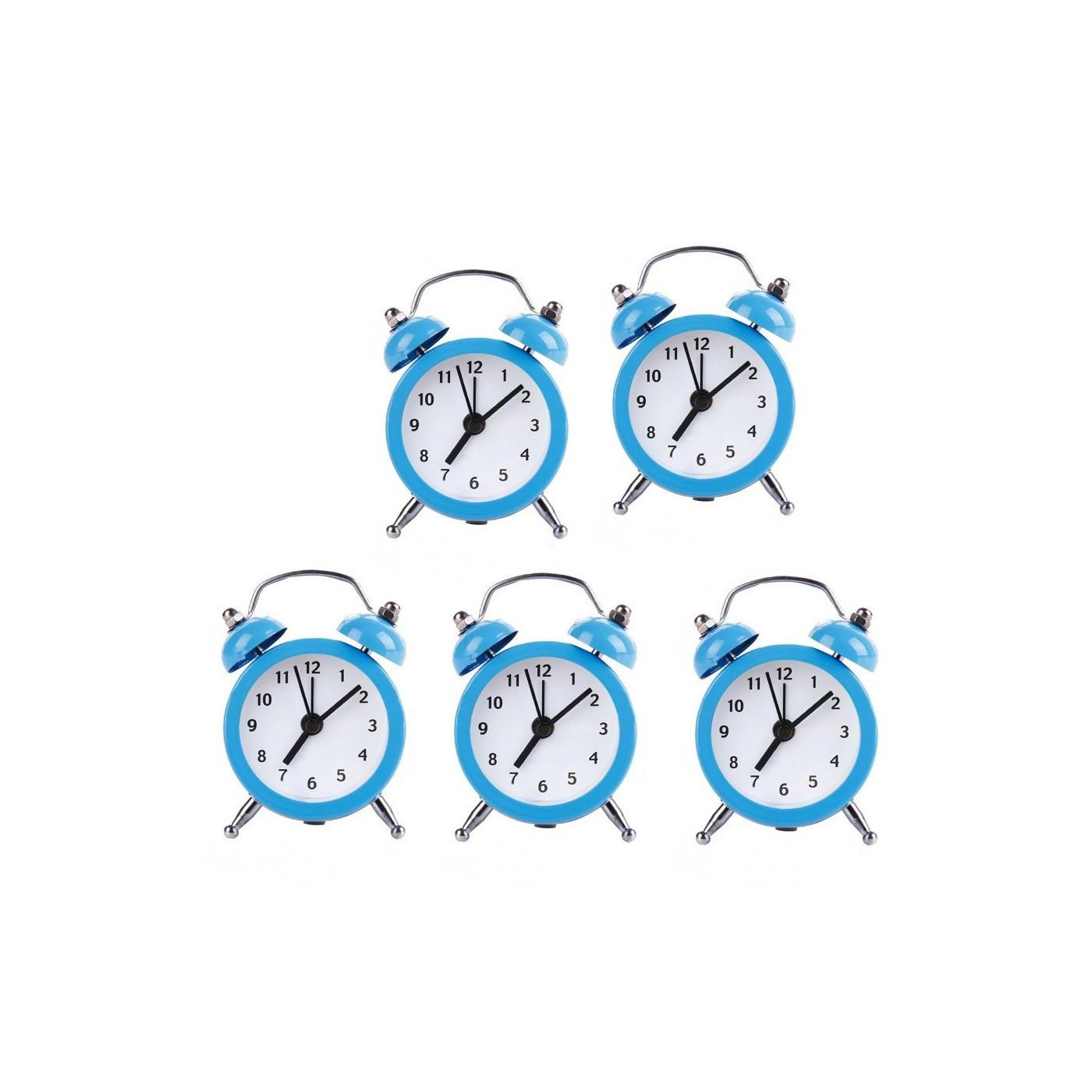 Ensemble de 5 petits réveils rigolos (bleu clair, pile)