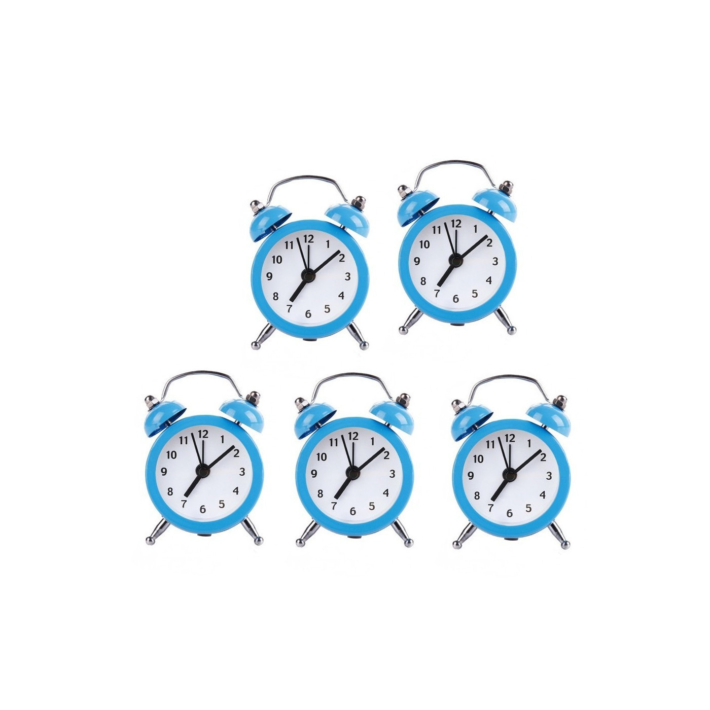 Set van 5 kleine wekkertjes, baby blauw (op batterij)