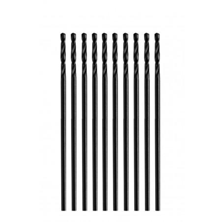 Set of 10 small metal drill bits (3.2x65 mm, HSS-R)