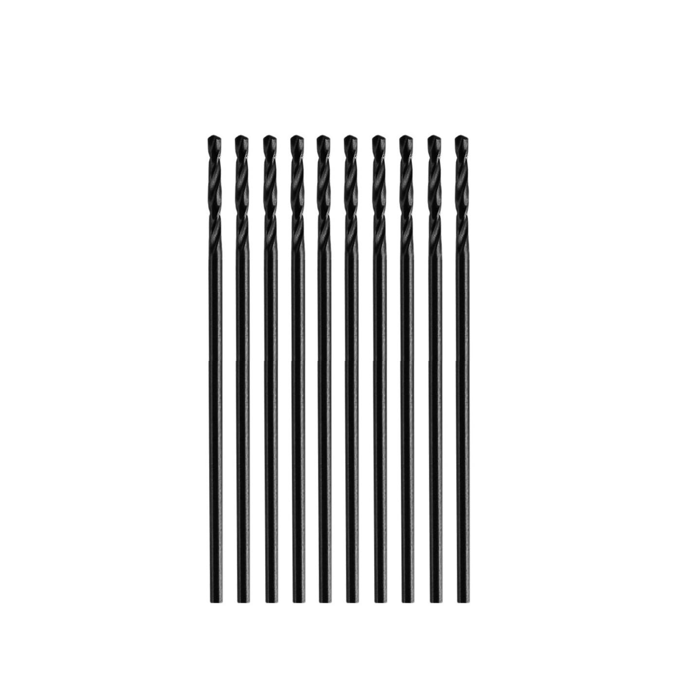 Set of 10 small metal drill bits (0.9x32 mm, HSS)