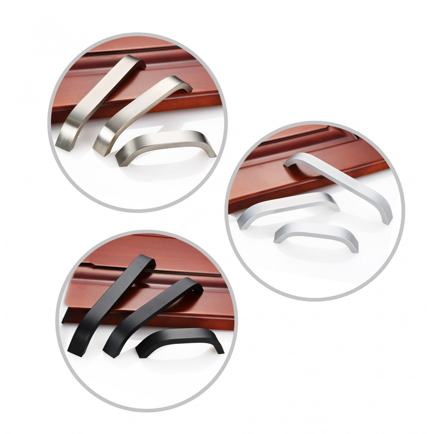 Set of 4 sturdy metal handles (160 mm, black)