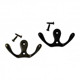 Set of 6 metal clothes hooks, coat hangers (double, color: bronze)  - 1