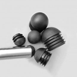 Set of 32 plastic chair leg caps (inside, ball, round, 22 mm, black) [I-RO-22-B-B]  - 1
