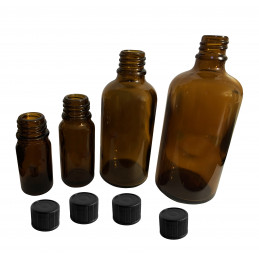 Set of 30 glass bottles (10 ml) with black screw cap  - 1