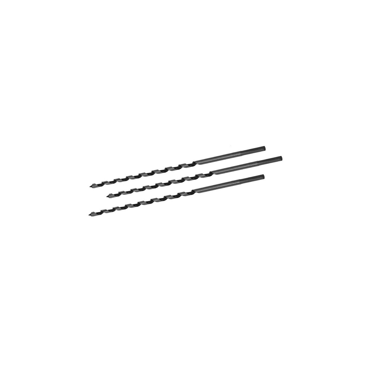Set of 3 auger drill bits for wood, 6x230 mm
