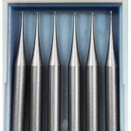6 HSS mini milling cutters, 0.5x40 mm (ball nose only)  - 1