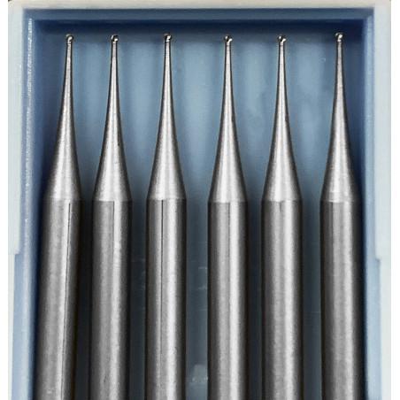 6 HSS mini freesjes, 0.5x40 mm (alleen bolkop)