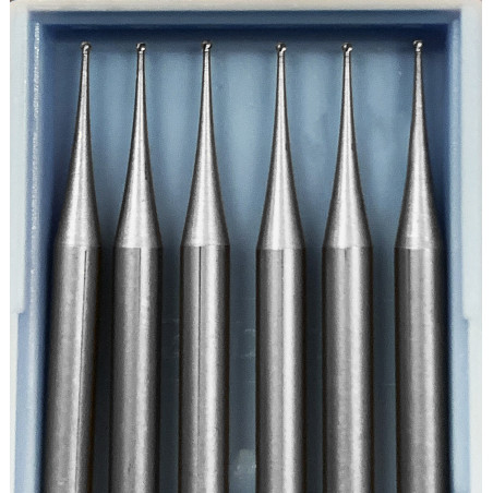 6 HSS mini milling cutters, 0.5x40 mm (ball nose only)