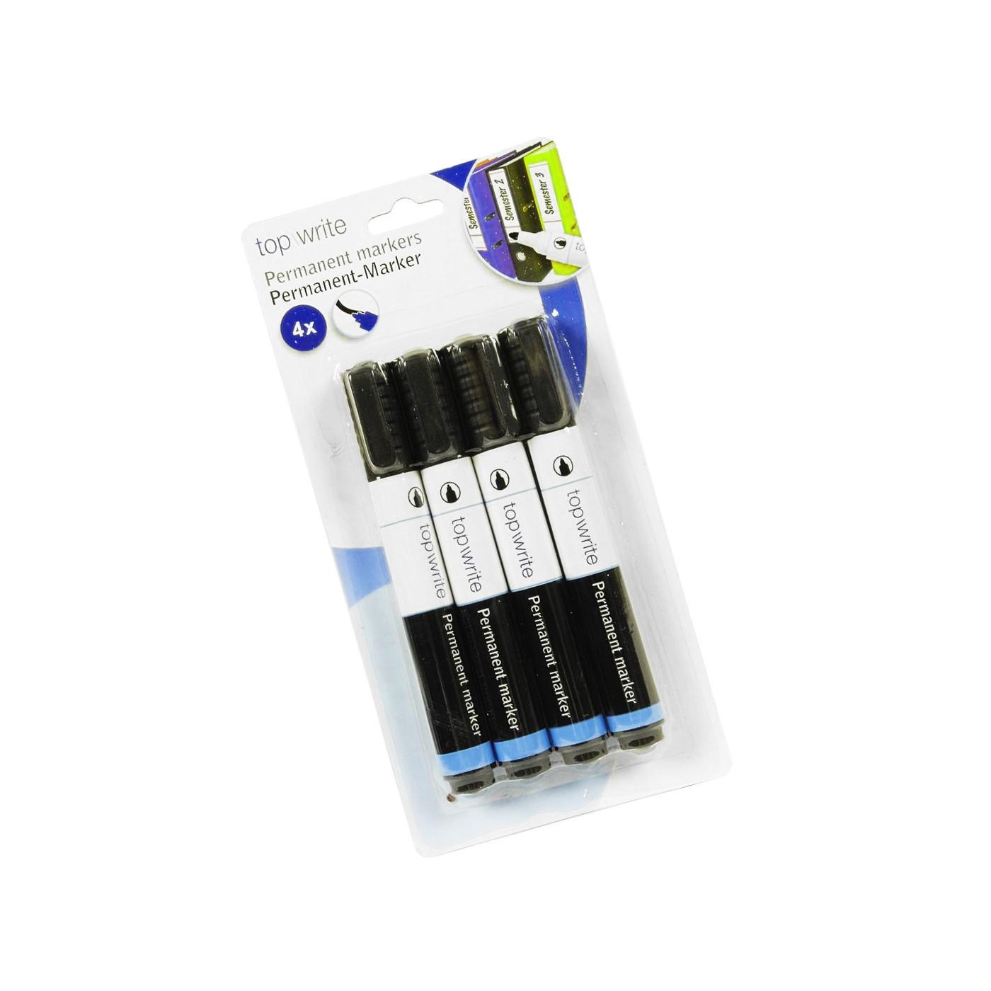 Set van 4 permanente markers (watervaste stiften, zwart)