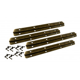 Set of 4 extra long hinges (piano hinge, bronze, including screws)  - 1