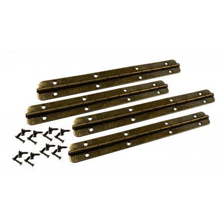 Set von 4 extra langen Scharnieren (Klavierscharnier, Bronze