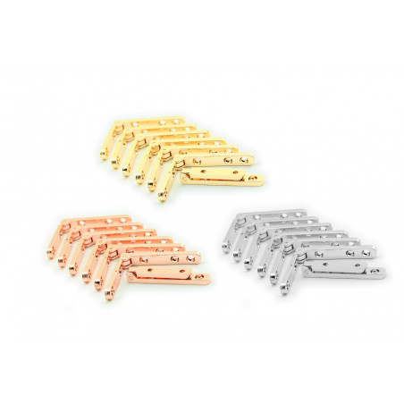 Set of 8 metal hinges for box (silver, 90 degrees)