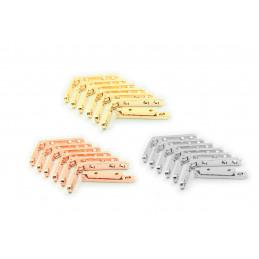 Zestaw 8 metalowych zawiasów do pudełka (różowe złoto, 90 stopni)  - 1
