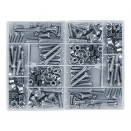 Set von 250 Stück Schrauben und Muttern in 2 Kartons