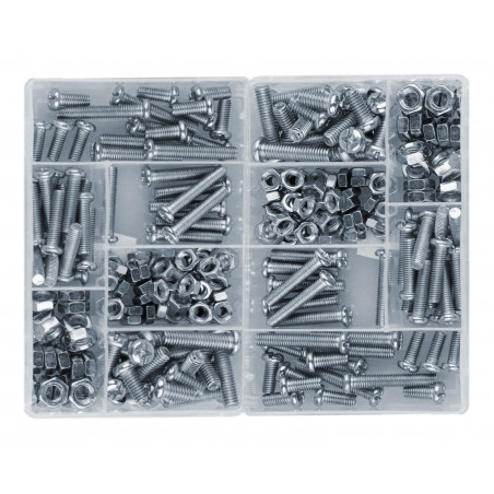 Set of 250 pieces bolts and nuts in 2 boxes