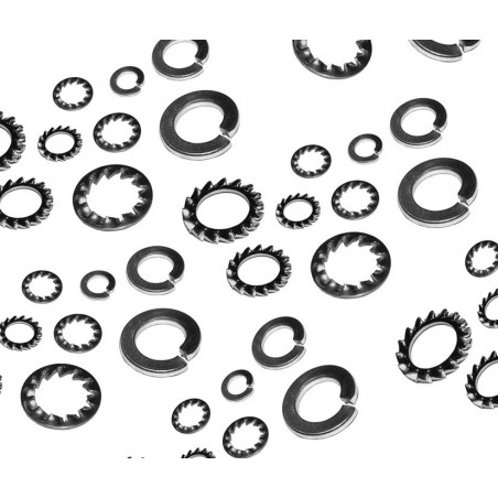 Set of 1440 spring washers (smooth and serrated)