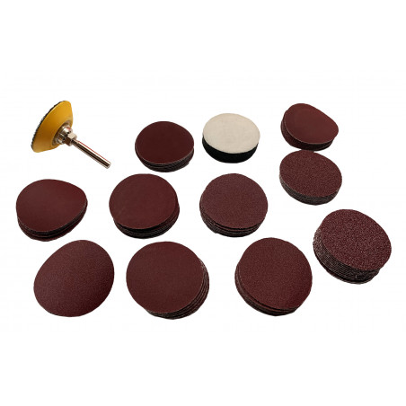Set of 50 mm sanding pad and adapter (with 100 discs, grit
